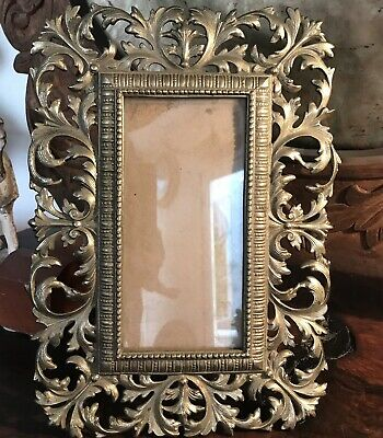 Antique Victorian Heavy Brass Bronze Ornate Picture Frame Easel Style 5 X 9