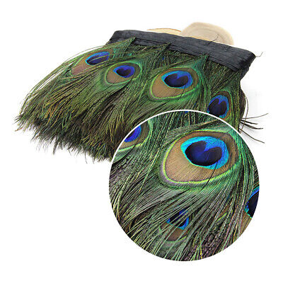 100CM Peacock Eye Feather Natural Satin Ribbon Trimming Fringe 13cm Width