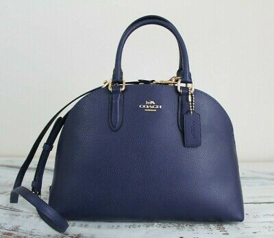 2e03ccdf5 NWT COACH QUINN Satchel in Polished Pebble Leather Cadet Blue/Gold ...