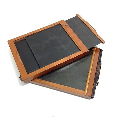 2 Vintage Wooden Photographic Glass Plate Negative Holders