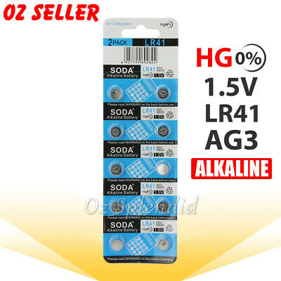 10 x LR41 Battery 1.5V Alkaline Button Cell Batteries 192/AG3/392 Mercury FREE