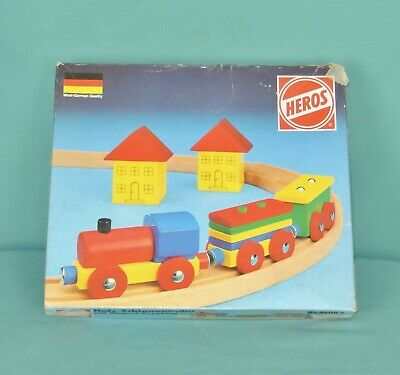 HEROS holz-schienenbahn WEST GERMAN vintage wood magnetic train & track set