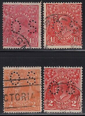 "Australia KGV four different 1½d and 2d ""OS"" perfins, used"