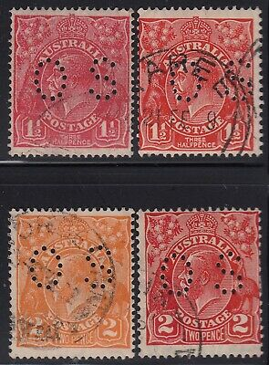 "Australia KGV four different 1½d and 2d ""OS"" perfins, used -2-"