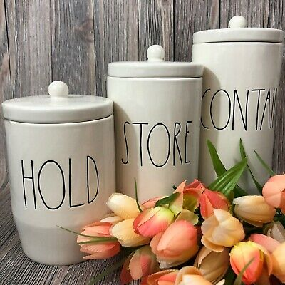 RAE DUNN LL Letters HOLD STORE CONTAIN Canisters Hard To Find Set of 3 RARE 2019