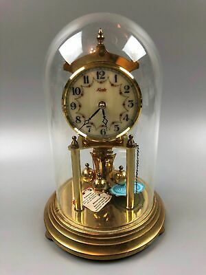 Kundo Brass Anniversary Clock Germany Glass Dome