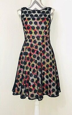 91f2962e051 Betsey Johnson Black Mesh Overlay Floral Fit Flare Special Occasion Dress  Size 2
