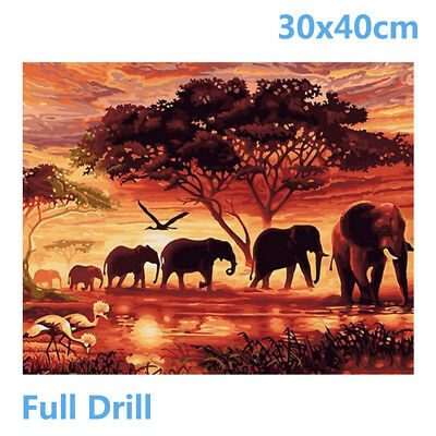 Full Drill Elephants 5D Diamond Painting Embroidery Cross Crafts Stitch Kit Hot