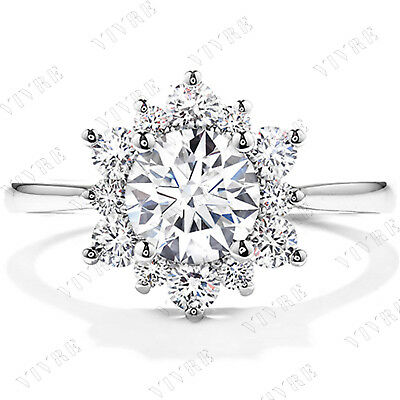 1.20ct Round Cut Diamond Floral Halo Engagement Wedding Ring 14k White Gold Over
