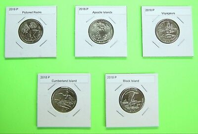 2018 P America The Beautiful Quarters(ATB) 5 Coin Set - Mint Bags- Free Shipping