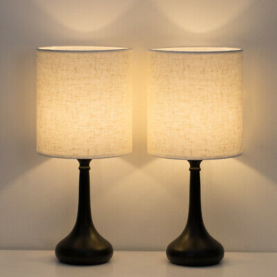 HAITRAL Modern Table Desk Lamp Set of 2 with Fabric Shade Nickel silver Base