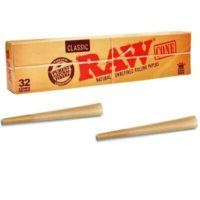 Raw Rolling Papers Pre-Rolled King Size 110mm Length Classic Cones - 32 Box