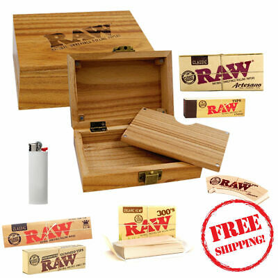 Raw Gift Set Wooden Wood Box Artesano 300's Rolling Papers Tips Lighter