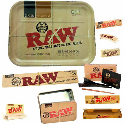 RAW Bundle Large Tray Tin Cone Loader Tips Rolling Papers and Cones