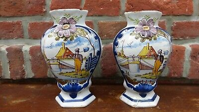 DELFT.Paire de vases faience polychrome. XVIIIème  Antique dutch Delft vase