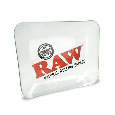 RAW Natural Unrefined Rolling Papers Glass Rolling Tray Large 32 x 26,5 cm