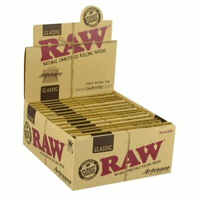 Raw King size Slim Artesano Papers, Tray and Tips Box with 15 Packs