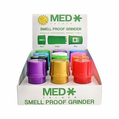 The MedTainer Assorted Colour Grinder Smell Proof Store, Grind and Pour