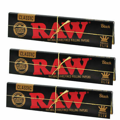 Raw King Size Slim Classic Black the Thinnest Unbleached Rolling Paper x3