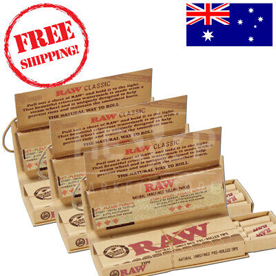 RAW Classic Connoisseur Regular Kingsize Rolling Papers+ Pre-Rolled Tips x3