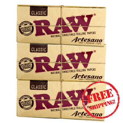 3 x Raw Classic Kingsize Slim Artesano Rolling Papers, Tray and Tips