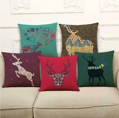 Sika Deer Cotton Linen Pillow Case Cushion Cover Waist Cover Home Decor MY1497