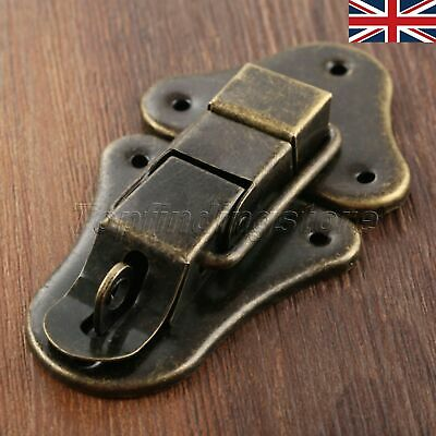 UK STOCK Antique Bronze Wooden Chest Jewelry Box Latch Hasps Locks Toggle Catch