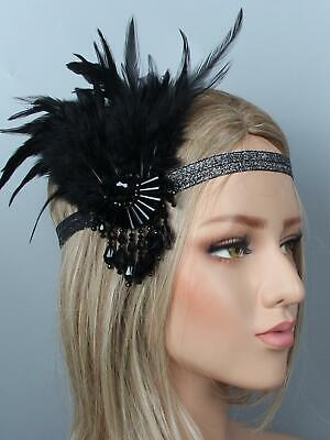 1920s Women Vintage Style Party Crystal Fringe Feather Flapper Headband OK 02