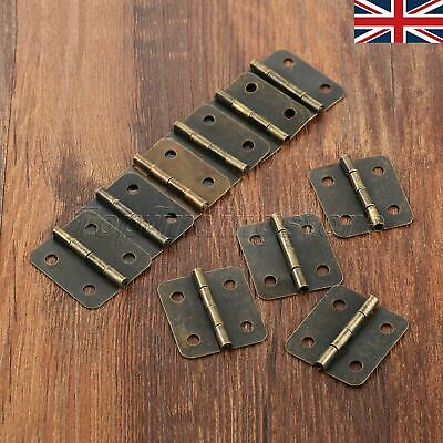 10pcs UK STOCK Antique Bronze Iron Wooden Box Door Hinge Cabinet Drawer Hardware