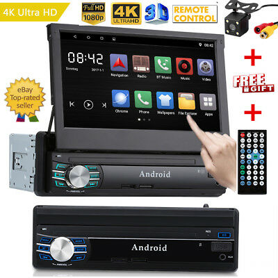 7 in 1 din Hideable Screen Car Media Player Navigation System 4K 1080P Android