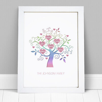 Personalised Family Tree Wall Art Picture Print Mothers Day Birthday Gift Frame