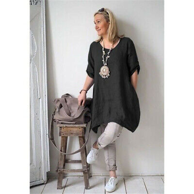 Women Spring Cotton Linen Round Neck Irregular Hem Casual Loose Beach Dress Z