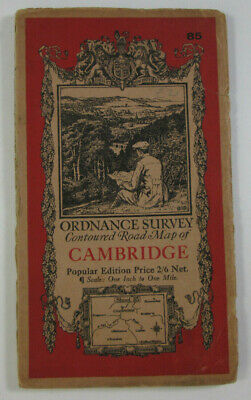 1929 Old Vintage OS Ordnance Survey One-Inch Popular Edition Map 85 Cambridge