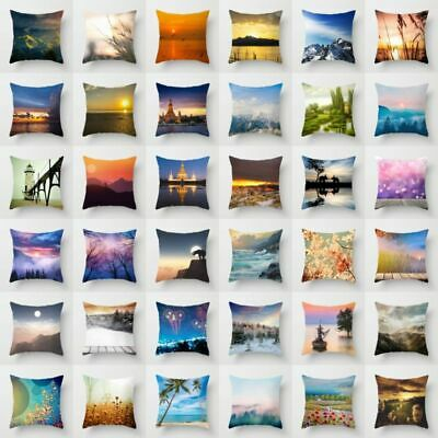 18'' Polyester Waist Throw Pillow Case Sofa Scenery Cushion Cover Home Decor