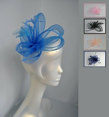 Net & feather fascinator hair clip. Nude, dusky pink, cobalt. Wedding Races. UK