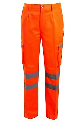 Hi Viz Vis Combat Cargo Trouser Mens Workwear Rail Road Work High Visability