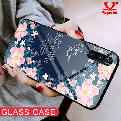 For Xiaomi 9 Redmi Note 6/7 Phone Case Tempered Glass Heart Space Pattern Cover