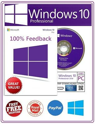 Microsoft Windows 10 Professional Official 64Bit Pro DVD & Genuine License Key
