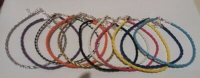 Braided Leather Anklet Ankle Bracelet Hippy - 17  Colours - Buy 4 Get 1 Free