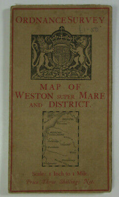 1928 OS Ordnance Survey One-Inch Special Popular Edition Map Weston super Mare