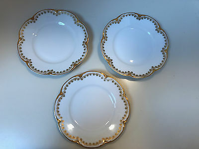 """3 Antique Theodore Haviland Limoges 6.5"""" Bread & Butter Patent Applied For, 1903"""