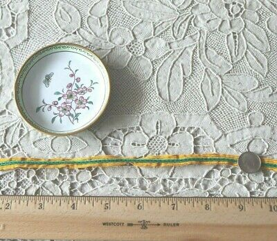 """Antique 19thC French Silk Gold & Green Tiny Scale 1/4"""" Braid-Passementerie~Dolls"""