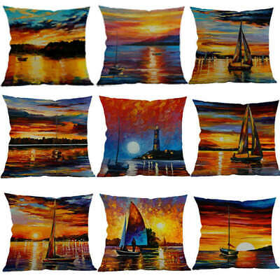 Sunset Sea Scenery Sailing Home Decor Throw Pillow Case Sofa Waist Cushion Cover