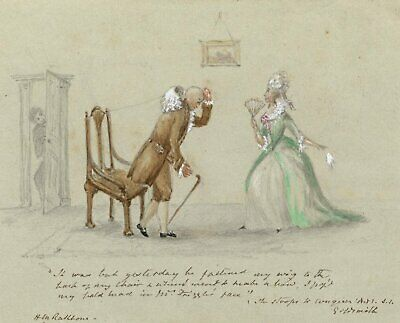 Hannah Mary Rathbone, She Stoops to Conquer by Goldsmith - 1865 watercolour