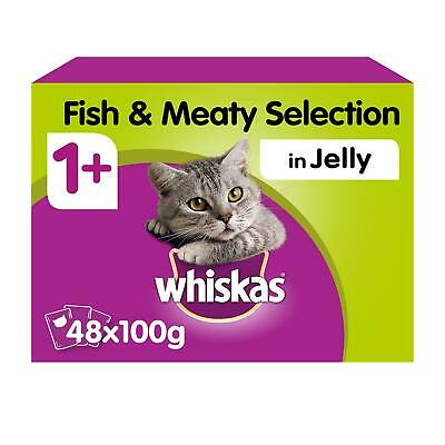 48 x 100g Whiskas 1+ Adult Cat Food Pouches Mixed Fish & Meaty in Jelly