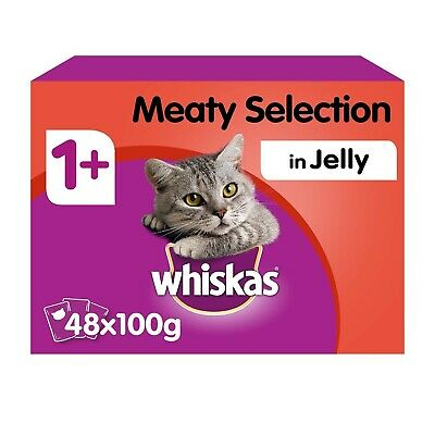 48 x 100g Whiskas 1+ Adult Wet Cat Food Pouches Mixed Meaty In Jelly
