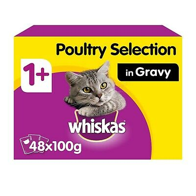 48 x 100g Whiskas 1+ Adult Wet Cat Food Pouches Mixed Poultry in Gravy