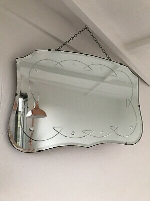 Frameless Mirror Etched Art Deco Frameless Bevelled Edge Wall Mirror Vintage