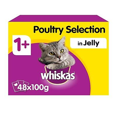 Whiskas 1+ Adult Wet Cat Food Pouches Poultry Selection Jelly 48x100g Pouches