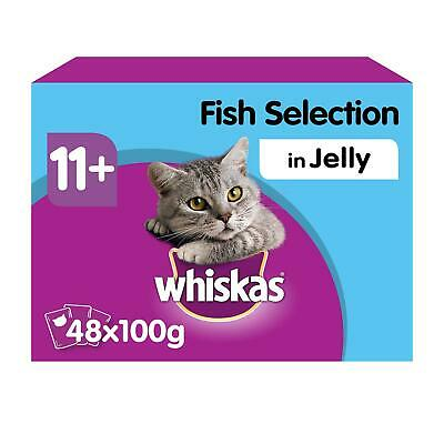 Whiskas 11+ Super Senior Wet Cat Food Pouches Fish in Jelly 48x100g Pouches